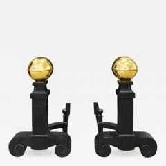 Monumental Pair Of Andirons In Wrought Iron And Brass 1970s - 1083576