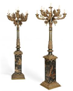 Monumental Pair of French Gilt Bronze and Chinoiserie Painted Torcheres - 2138077
