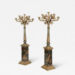 Monumental Pair of French Gilt Bronze and Chinoiserie Painted Torcheres - 2139241