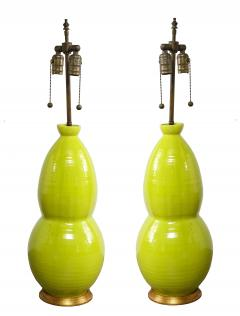 Monumental Pair of Mid Century Ceramic Double Gourd Lamps - 1704515