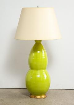 Monumental Pair of Mid Century Ceramic Double Gourd Lamps - 1704523