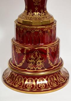 Monumental Pair of Ruby Red Gilt Bohemian Alhambra Cut Glass Vases on Stands - 1150937