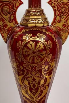 Monumental Pair of Ruby Red Gilt Bohemian Alhambra Cut Glass Vases on Stands - 1150938