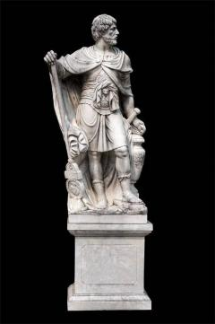 Monumental Pair of White Marble Statue of Classical Roman Figures - 634203
