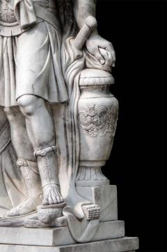 Monumental Pair of White Marble Statue of Classical Roman Figures - 634210