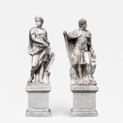 Monumental Pair of White Marble Statue of Classical Roman Figures - 634601