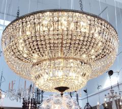Monumental and Spectacular Flush Mount Crystal Basket Chandelier - 1522156