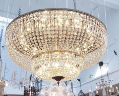 Monumental and Spectacular Flush Mount Crystal Basket Chandelier - 1522159