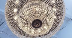 Monumental and Spectacular Flush Mount Crystal Basket Chandelier - 1522170