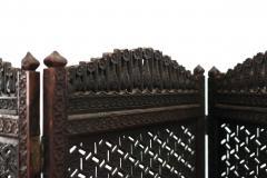 Moorish Carved Teak 3 Fold Screen - 1379799