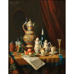 Moritz Mansfield TABLE TOP STILL LIFE WITH URN TEA SERVICE AND VARIOUS ARTICLES - 1908476