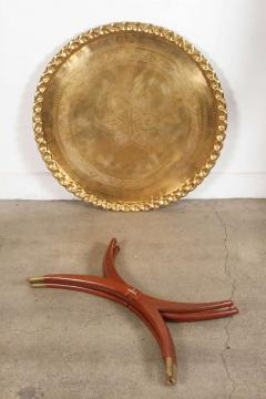 Moroccan Brass Tray Table On Spider Folding Stand   368717
