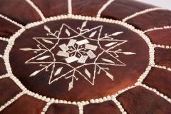 Moroccan Brown Leather Hand Tooled Pouf - 1829914