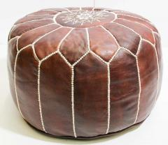 Moroccan Brown Leather Hand Tooled Pouf - 1829919