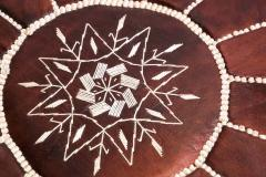 Moroccan Brown Leather Hand Tooled Pouf - 1829921