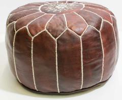 Moroccan Brown Leather Hand Tooled Pouf - 1829922