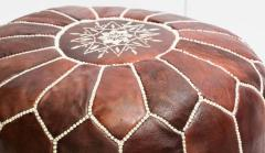 Moroccan Brown Leather Hand Tooled Pouf - 1829923