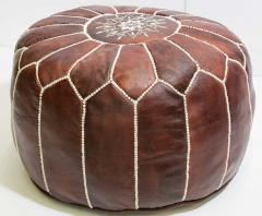 Moroccan Brown Leather Hand Tooled Pouf - 1829924