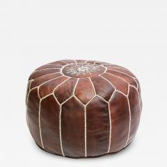 Moroccan Brown Leather Hand Tooled Pouf - 1830298