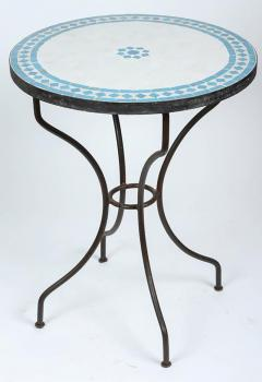 Moroccan Mosaic Turquoise Blue Tile Bistro Table Iron Base   381118