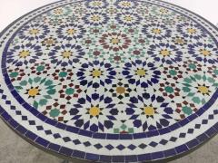 Moroccan Outdoor Mosaic Tile Table from Fez in Traditional Moorish Design - 1337919