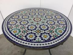 Moroccan Outdoor Mosaic Tile Table from Fez in Traditional Moorish Design - 1337920