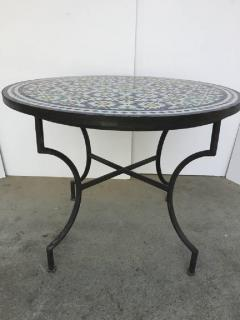 Moroccan Outdoor Mosaic Tile Table from Fez in Traditional Moorish Design - 1337955