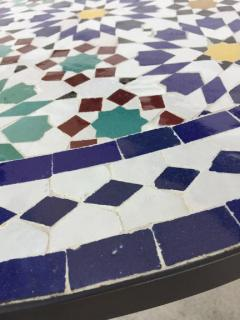 Moroccan Outdoor Mosaic Tile Table from Fez in Traditional Moorish Design - 1337956