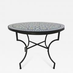 Moroccan Outdoor Mosaic Tile Table from Fez in Traditional Moorish Design - 1338685