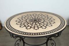 Moroccan Outdoor Round Mosaic Tile Dining Table on Iron Base 47 in  - 1324106