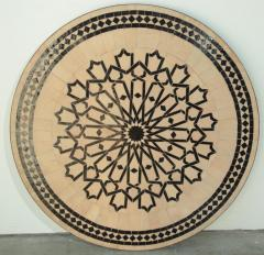 Moroccan Outdoor Round Mosaic Tile Dining Table on Iron Base 47 in  - 1324120