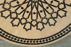 Moroccan Outdoor Round Mosaic Tile Dining Table on Iron Base 47 in  - 1324124