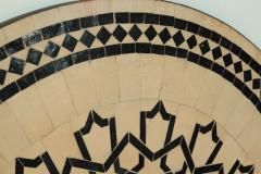 Moroccan Outdoor Round Mosaic Tile Dining Table on Iron Base 47 in  - 1324129