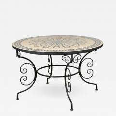 Moroccan Outdoor Round Mosaic Tile Dining Table on Iron Base 47 in  - 1325586
