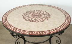Moroccan Outdoor Round Mosaic Tile Dining Table on Iron Base 47 in  - 1324115