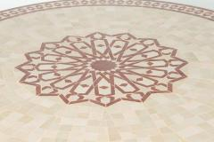 Moroccan Outdoor Round Mosaic Tile Dining Table on Iron Base 47 in  - 1324116