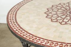 Moroccan Outdoor Round Mosaic Tile Dining Table on Iron Base 47 in  - 1324117