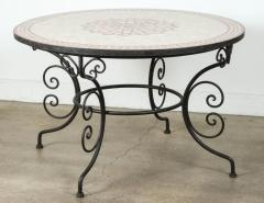 Moroccan Outdoor Round Mosaic Tile Dining Table on Iron Base 47 in  - 1324125