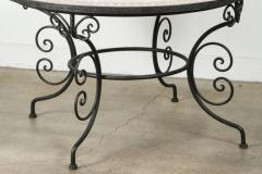 Moroccan Outdoor Round Mosaic Tile Dining Table on Iron Base 47 in  - 1324131