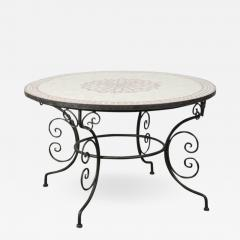 Moroccan Outdoor Round Mosaic Tile Dining Table on Iron Base 47 in  - 1325587