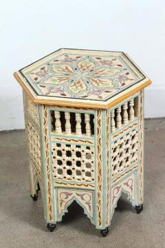 Moroccan Side Table Hand Painted In Ivory And Blue Colors   363793