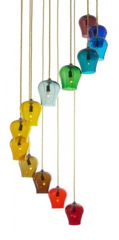 Morris Lapidus Pair of Rainbow Spiral Glass Chandeliers by Morris Lapidus - 774896