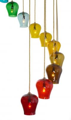 Morris Lapidus Pair of Rainbow Spiral Glass Chandeliers by Morris Lapidus - 774898