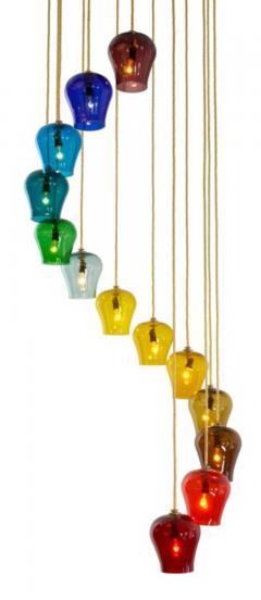 Morris Lapidus Pair of Rainbow Spiral Glass Chandeliers by Morris Lapidus - 774899