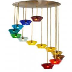 Morris Lapidus Pair of Rainbow Spiral Glass Chandeliers by Morris Lapidus - 774901