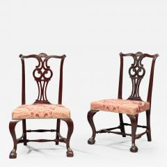 Moses Black Pair of Chippendale Side Chairs - 595399