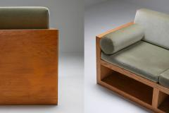 Moss green velvet and pitch pine three seat sofa 1960s - 1320543