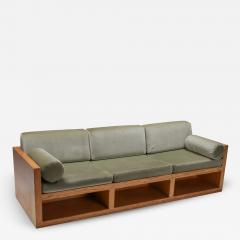 Moss green velvet and pitch pine three seat sofa 1960s - 1322437