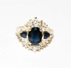 Most Gorgeous Natural Blue Sapphire Diamond Ring 14KT Yellow Gold - 1674411