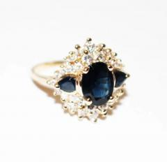 Most Gorgeous Natural Blue Sapphire Diamond Ring 14KT Yellow Gold - 1674415